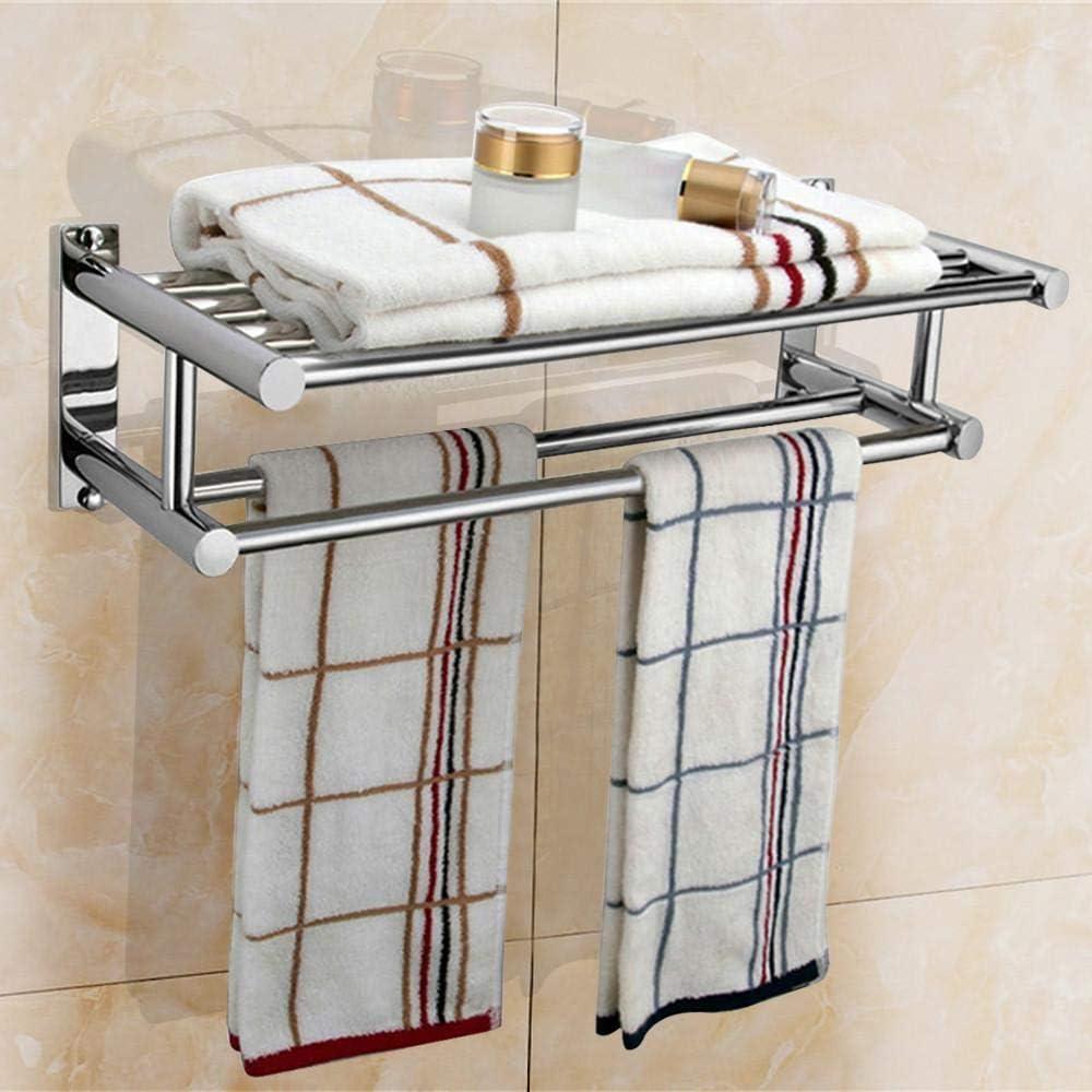 Yaheetech Stainless Steel Towel Racks Plated Wall Mounted Towel Rail Bathroom Double Shelf Storage Holder 59 Cm Silver Amazon Co Uk Kitchen Home