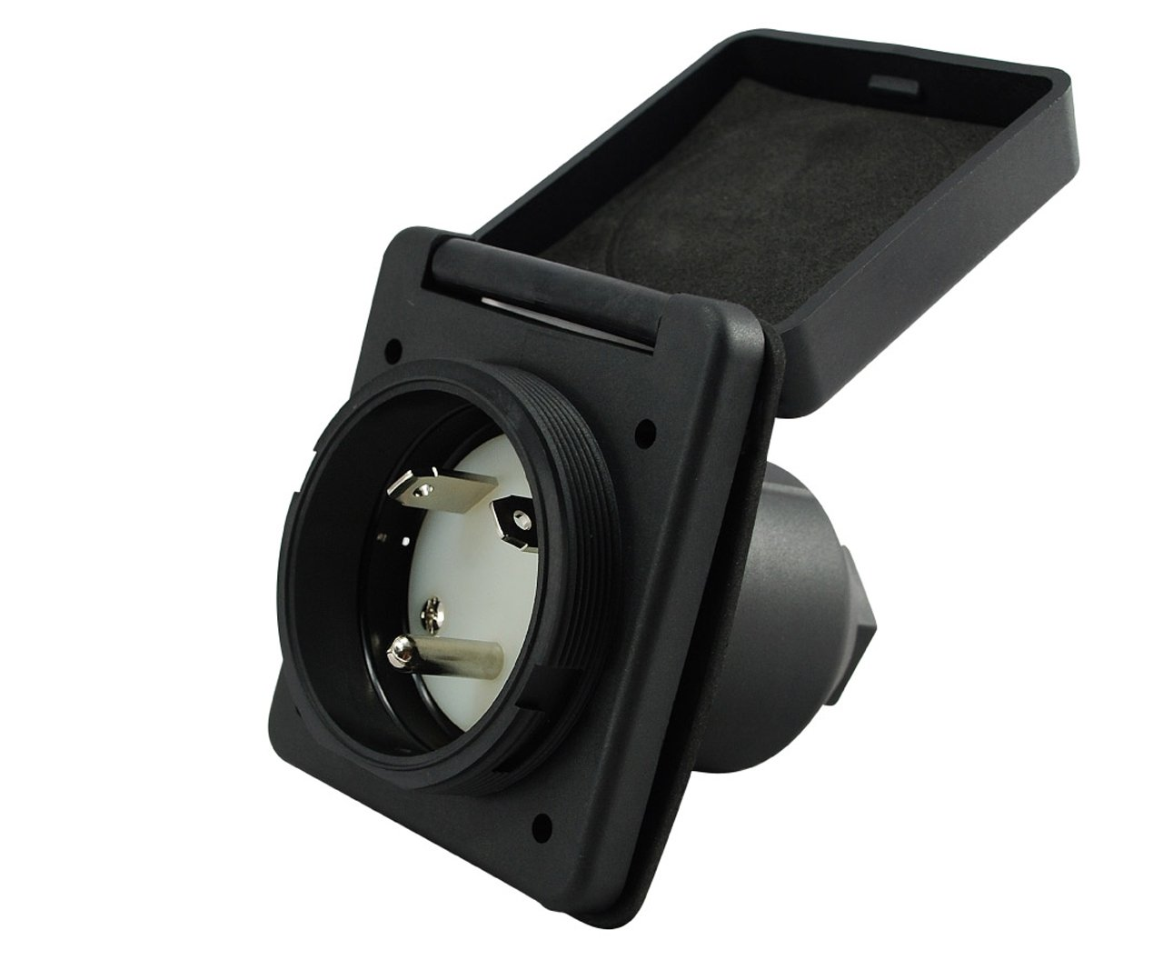Conntek RV 30-Amp Straight Blade Black Squire Cover RV/Marine Inlet