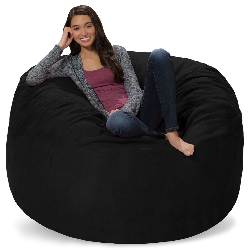 Comfy Sacks 5 ft Memory Foam Bean Bag Chair, Black Micro Suede
