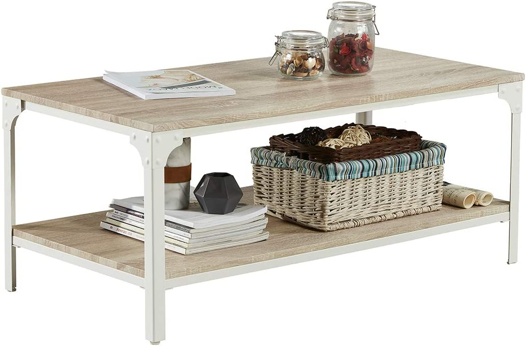 Homissue Industrial Style Coffee Table with Lower Shelf, 2 Tier Rectangular Cocktail Table for Living Room, Light Oak Shelf, 1-PCS