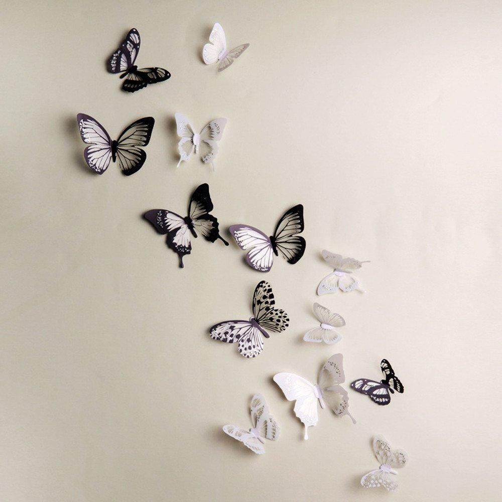 Clearance Tuscom 18Pcs Glowing 3D Butterfly Sticker,for Home Christmas Tree Party Wedding Ornament Decoration (Multicolor)