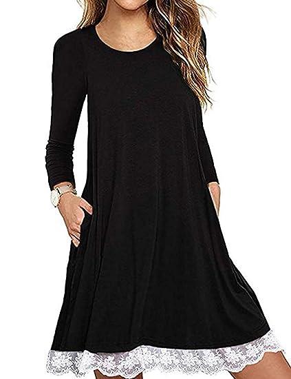 8b7e0f95c29 Women's Long Sleeve Casual Dresses, Plus Size Lace Hem T-Shirt Loose ...
