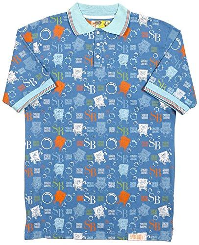 J.H. Design JH Design SpongeBob Squarepants Men's Character Collage Polo Shirt (X-Large, Blue) ()