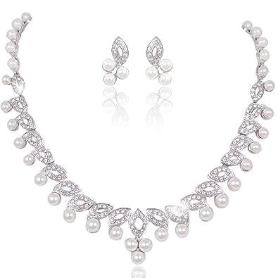 EVER FAITH Austrian Crystal Bridal Cream Simulated Pearl Leaf Jewelry Set Clear 2AYUcCXVQT