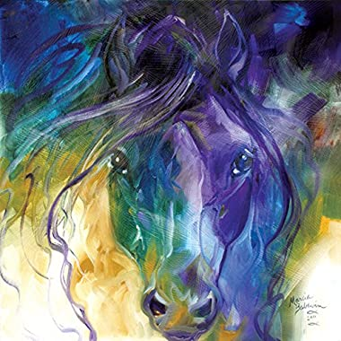 Westland Giftware Canvas Wall Art, Abstract Blue Roan, 15 by 15