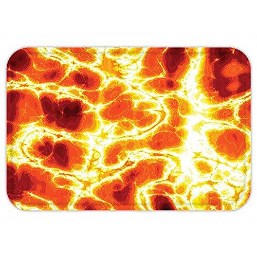 Hot Lava Girl Halloween Costume (Kisscase Custom Door MatBurnt Orange Decor Hot Burning Lava Texture with Bursting Fire FlameVolcanic Heated Magma Image Decor Orange Yellow)