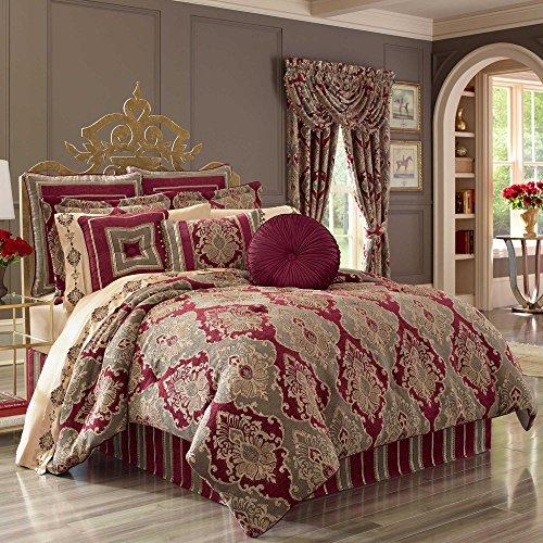 J. Queen New York Crimson Velvet-Piped Damask Queen Comforter Set