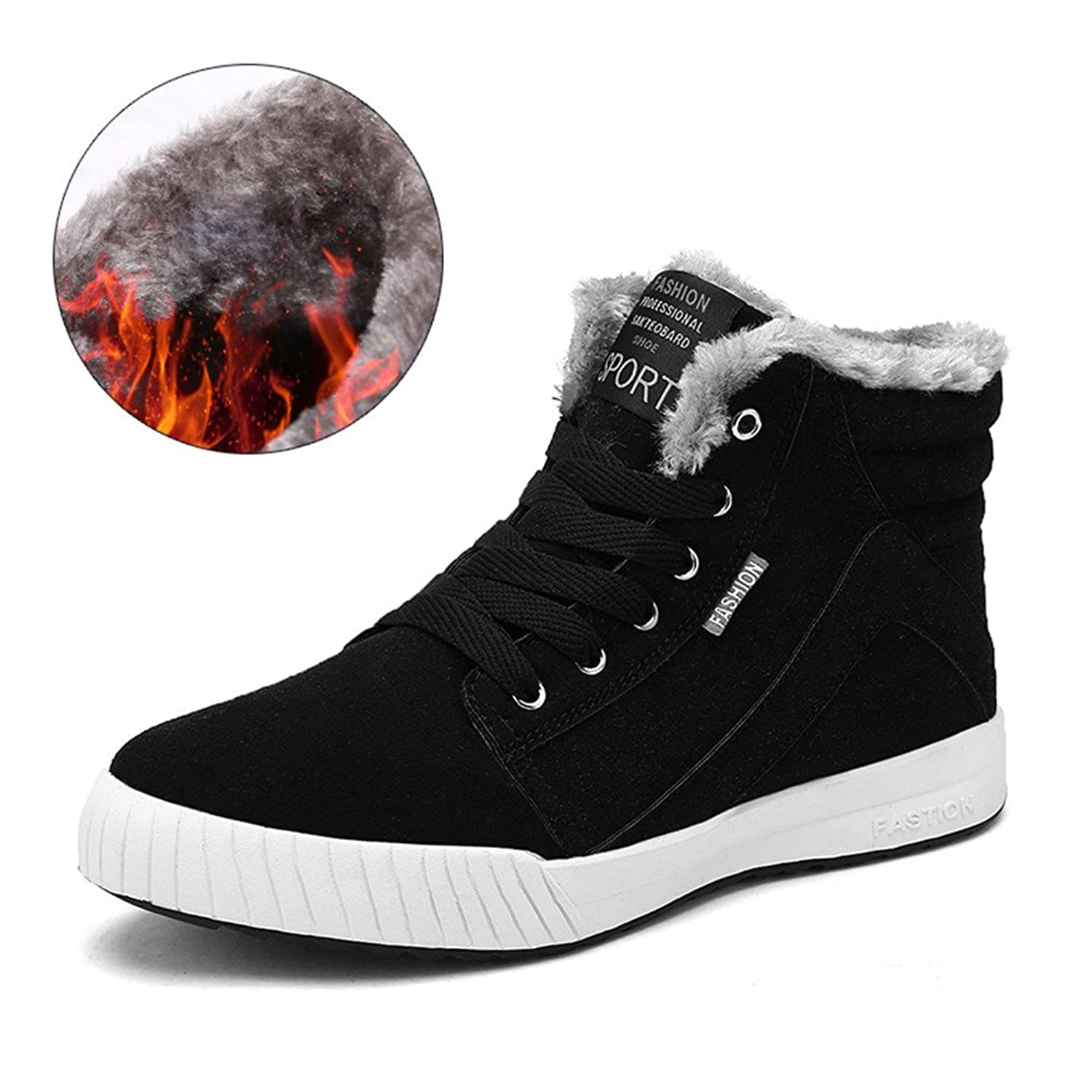 L-RUN Winter Boots for Men Lace-up Casual Warm Ankle Snow Boots with Fur