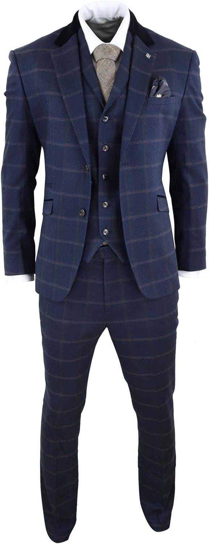 House Of Cavani Mens Herringbone Tweed Navy Blue Check 3 Piece Vintage Suit Peaky Blinders Tan Navy