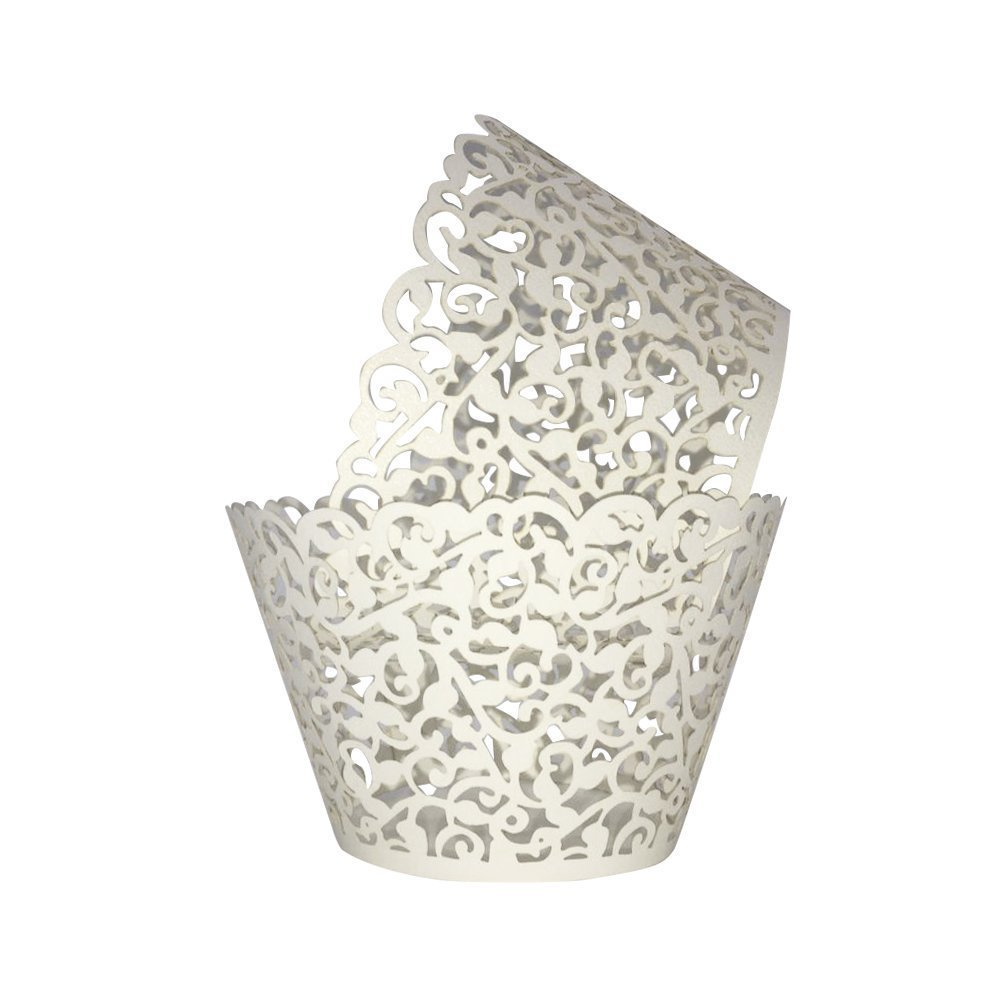 Cupcake Wrappers 100pcs/pack Creamy White Lace Cupcake Liners Laser cut Cupcake Papers cupcake cups Muffin cups for Wedding/Birthday Party Decoration by KASU
