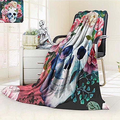Decorative Throw Duplex Printed Blanket Flowers and Skull Design Skeletons All Saints Day Halloween Image Soft Purple Pink Green |Home, Couch, Outdoor, Travel Use/W79 x H47 ()