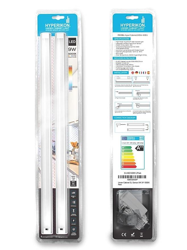 Hyperikon Barra Luminosa LED -Regulable + Sensor de movimiento - 9W - Blanco Frío (6000K) - 60 cm - Ideal para Gabinetes de Cocina o Armarios de Habitación ...