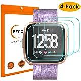 EZCO 4-Pack Screen Protector Compatible with Fitbit Versa & Versa Lite (Not for Versa 2), Waterproof Tempered Glass Screen Protector Cover Saver for Versa Smart Watch Scratch Resist Anti-Bubble