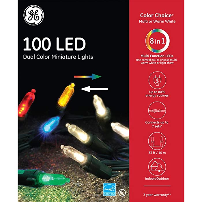 GE Staybright 100-Count Multi-Function Color Changing Mini LED Copper Wire String Christmas String Lights