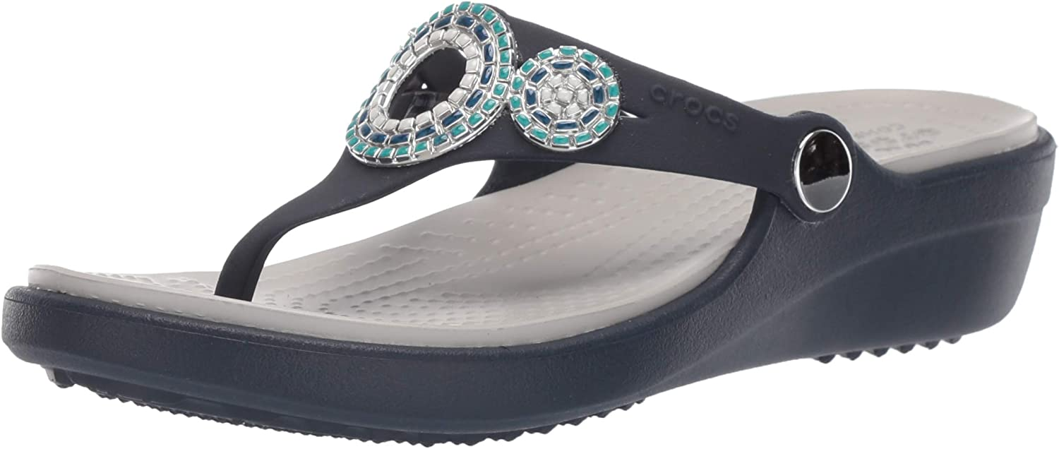 Crocs Women's Sanrah Diamante Slip On Wedge | Wedge Sandals for Women