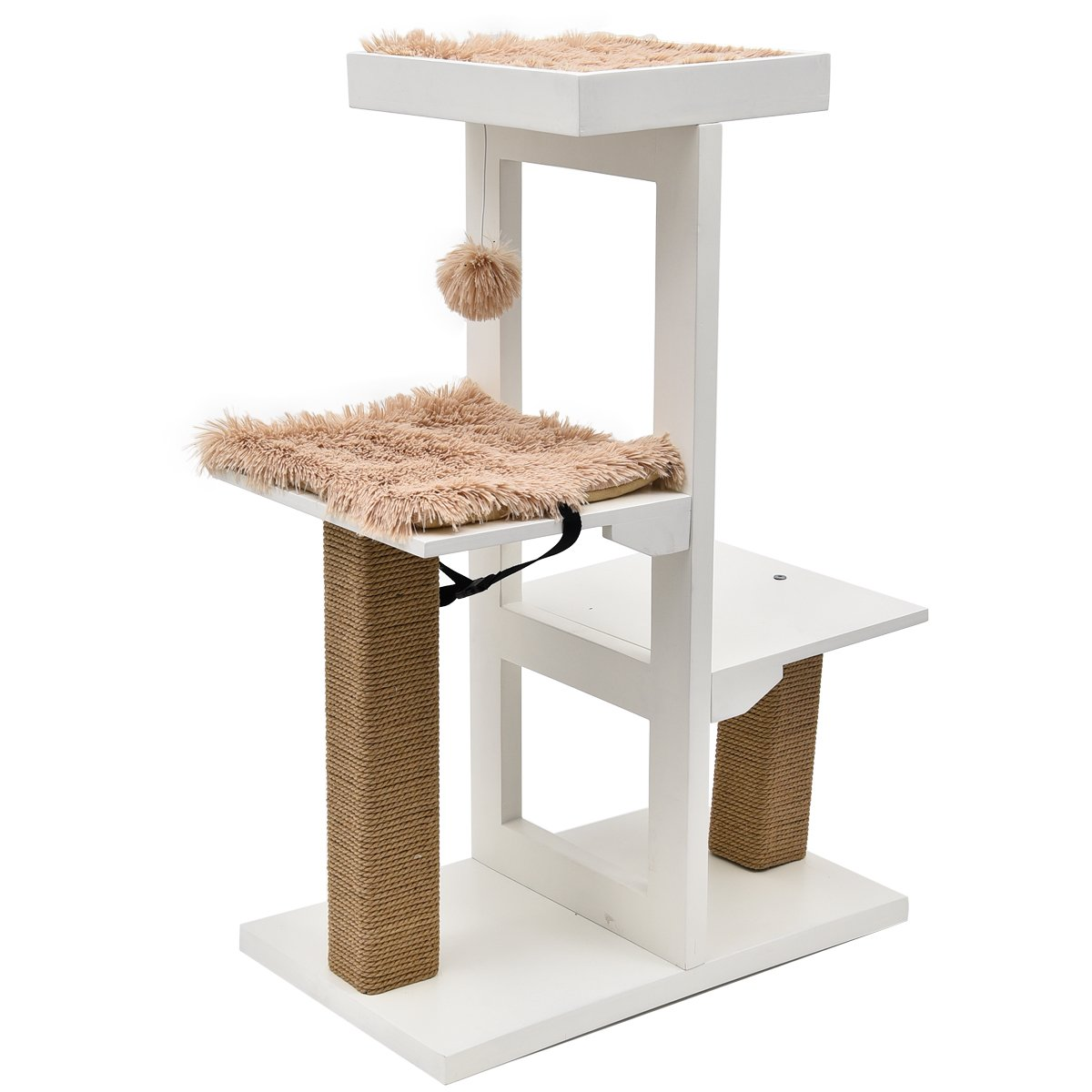 Amazon com pawz road modern cat tree with cat scratching post and hanging ball is great for cat and kitten to play and rest pet supplies