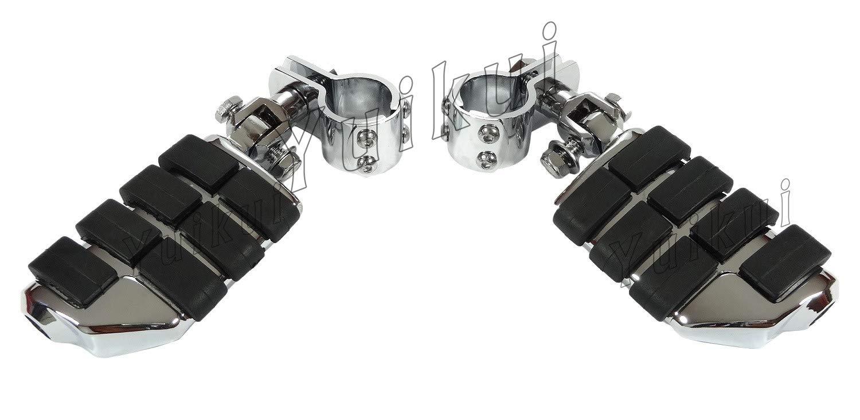 YUIKUI RACING オートバイ汎用 1-1/4インチ(32mm)/1インチ(25.4mm)エンジンガードのパイプ径に対応 ハイウェイフットペグ タンデムペグ ステップ KAWASAKI MEAN STREAK (all MODELE) All years等適用  クローム B07PZBBFQP