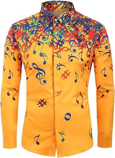 Camisa Estampada Hombre Camisas Corte Slim Personalidad de los Hombres Camisas Musica de Manga Larga Informales Shirt Casual Top Blusa Delgada Yvelands: Amazon.es: Ropa y accesorios