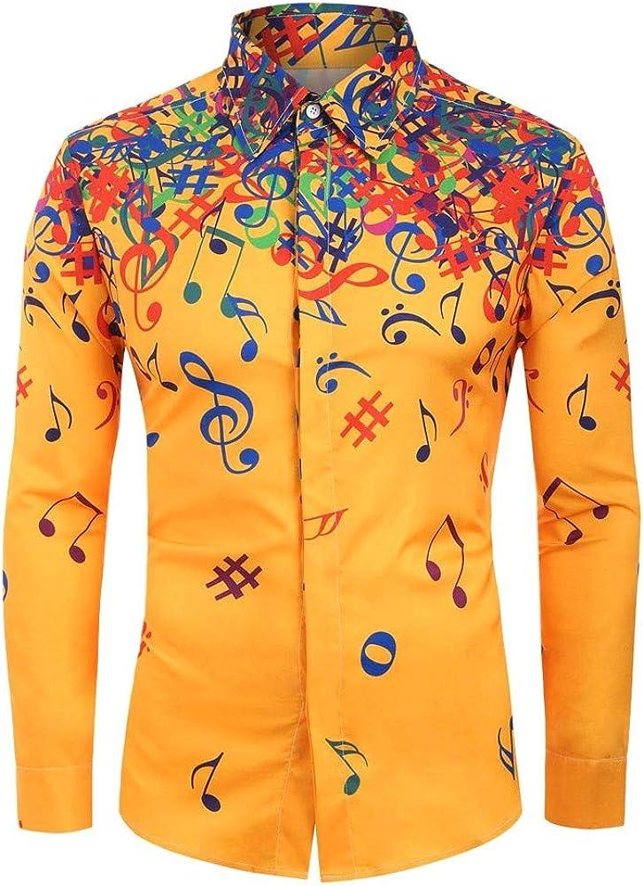 Yivise Blusa de Manga Larga con Estampado de Notas Musicales para Hombre Blusa Informal de Corte Slim con Blusa(Amarillo, Small): Amazon.es: Ropa y accesorios