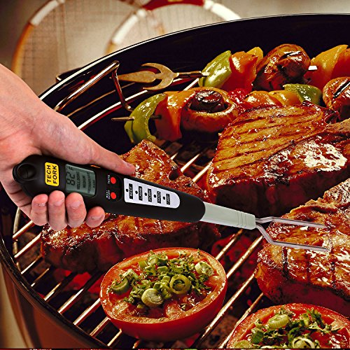 Barbestar Digital Meat Thermometer for Grilling with Long Fork,Instant Read BBQ Cooking Thermometer with LED Screen, Ready Alarm (Black) by Barbestar (Image #4)