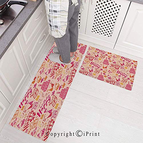 2 Pieces Microfiber Non-Slip Soft Kitchen Mat Bath Rug,Present Party Themed Cakes Cone Hats Swirls Art Doormat Runner Carpet Set, 15.7