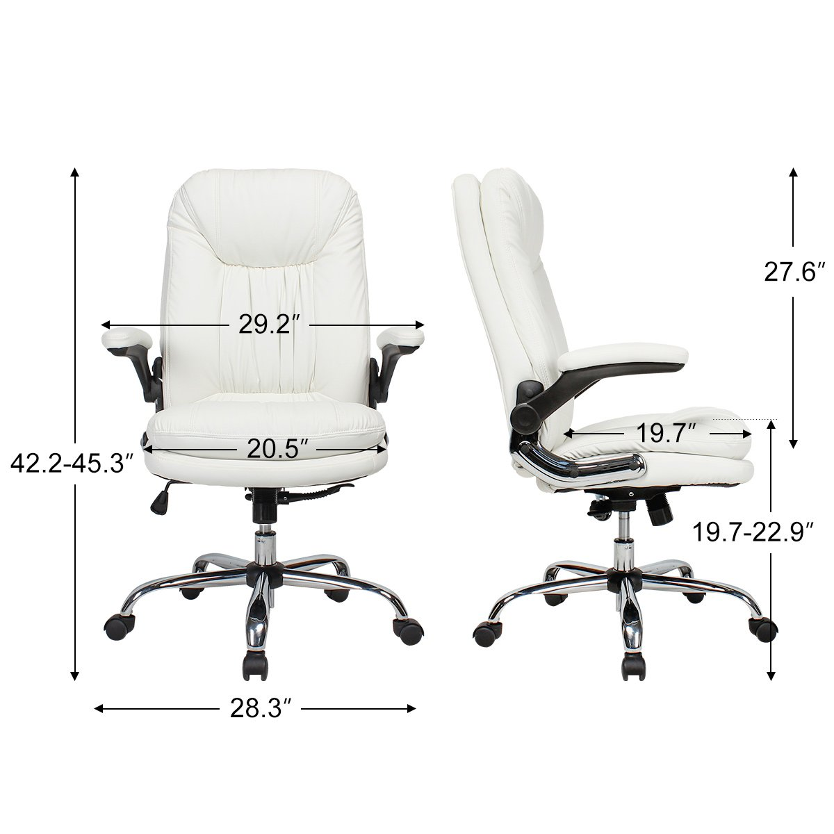 YAMASORO Ergonomic Office Chair with Flip-Up Arms and Comfy Headrest PU Leather High-Back Computer Desk Chair Big and Tall Capacity 330lbs White by YAMASORO (Image #6)