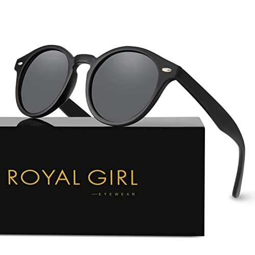 946078abea ROYAL GIRL Round Polarized Sunglasses Women Men Vintage Retro Classic Samll  Shades UV400 Lens Matte Black