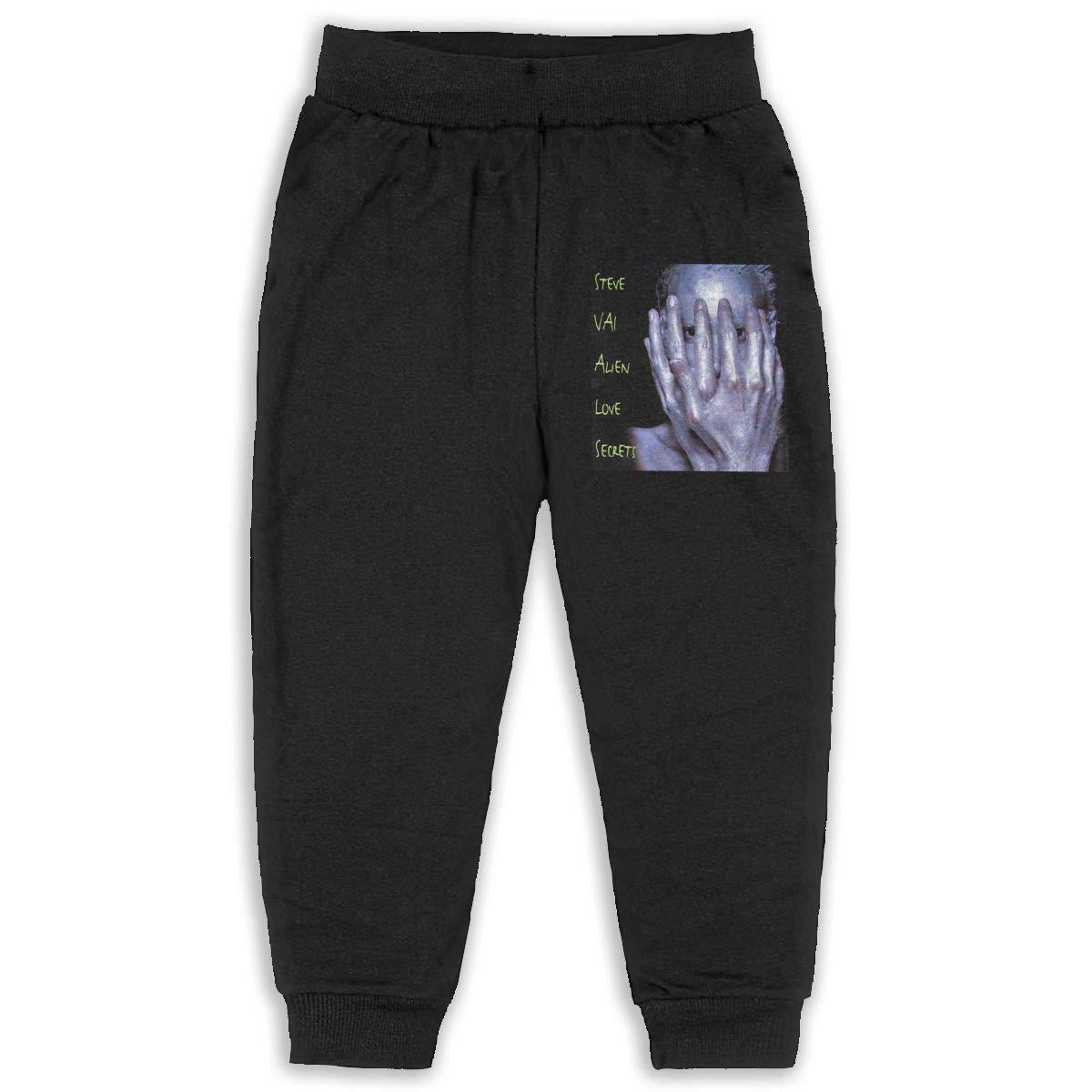 Kids Steve Vai Ailen Love Secrets Music Band Boys Girls Sweatpants Basic Jogger Pants Back Pocket Black