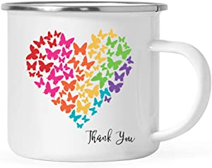 Andaz Press Thank You Gratitude 11oz. Stainless Steel Campfire Coffee Mug Gift, Thank You, Butterfly Rainbow Color, 1-Pack, Camp Cup Gifts Ideas for Him Her Teacher Graduation Neighbor