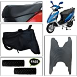 Vheelocity Combo of 72600 Black Motorcycle Body and Seat Cover with Foot Mat and Free Acupressure Grip for TVS Scooty Streak