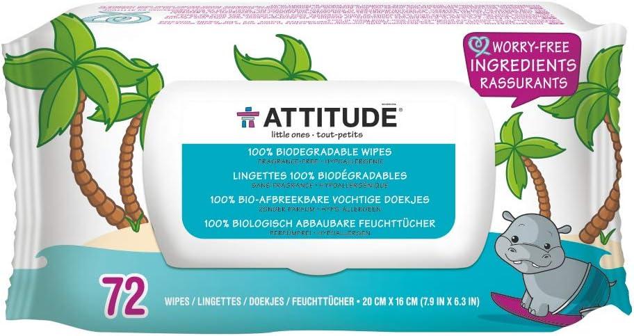 ATTITUDE, Eco-Baby Toallitas, 100% biodegradables y paños sin ...