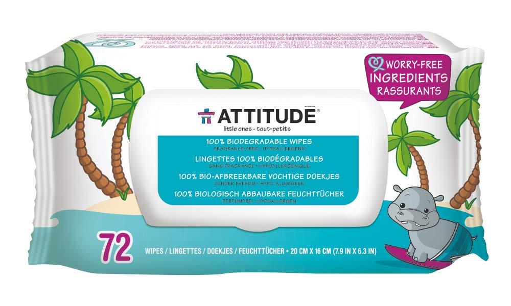 ATTITUDE Eco Wipes Fragrance-Free 72 Wipes