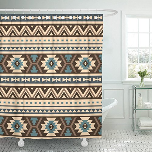 TOMPOP Shower Curtain Beige Aztec Ethnic Pattern Blue Mexican Abstract African American Waterproof Polyester Fabric 72 x 72 Inches Set with Hooks by TOMPOP