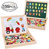 MOVEONSTEP Magnetic Board Puzzle Game with Magnetic Numbers and Letters Included Total 159 Pieces Double Face Jigsaw & Drawing Easel Chalkboard Learning Toys for Kids Age 3+ (Farm Theme)
