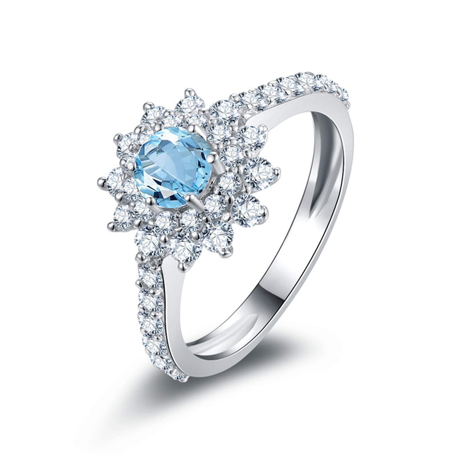 AMDXD Jewellery 925 Sterling Silver Bands Women Blue Round Cut Topaz Round Rings