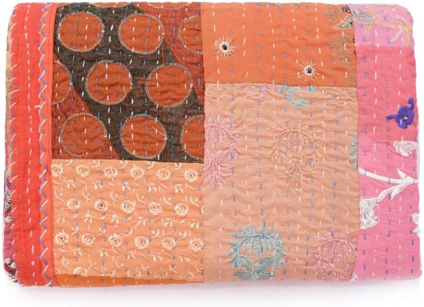 "Handmade Vintage Khambadiya Print Hand Jari Patchwork King/Twin Size Embroidery Kantha Quilt Home Decorative Khambadiya Kantha Quilt Kantha Bedspread Indian Blanket Coverlet (Orange, 90""108"")"