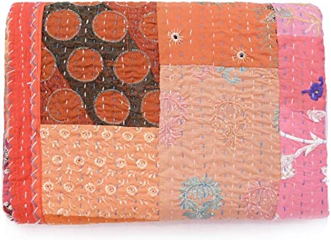Hand Embroidered Most Beautiful Kantha Quilt Vintage Handmade Indian Throw