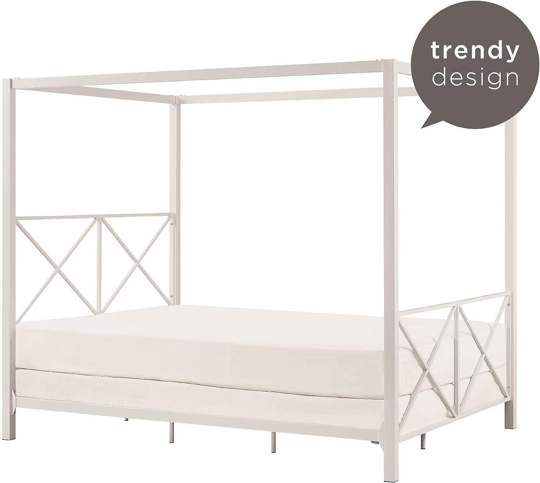 Blanc King Size Deluxe Box Moustiquaire Lit Baldaquin 4 Poster Bed Style