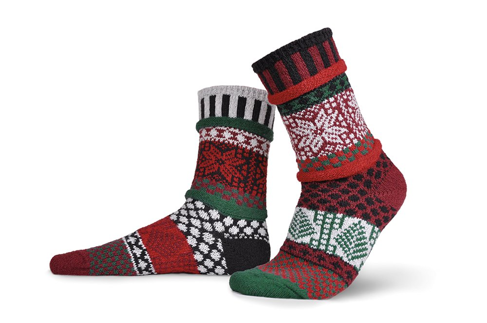 Solmate Socks - Mismatched Crew Socks; Made in USA; Poinsettia Small