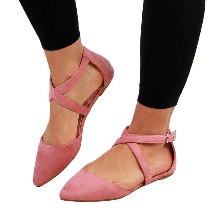 2019 Nuevo Moda Bailarinas Retro Mujer, Sandalias Planas Con Cordones Cruzados Mocasines De Color Solido Zapatillas De Baile Elegante Chic Bombas Zapatos ...