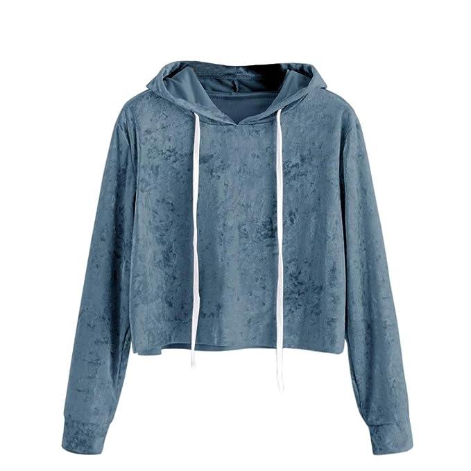 MOIKA Damen Kapuzen-Sweatshirt, Damen 2018 Gedruckt Langarm Kurze  Sweatshirt Hoodies Crop Pullover Tops Bluse  Amazon.de  Bekleidung 1df6325b0c
