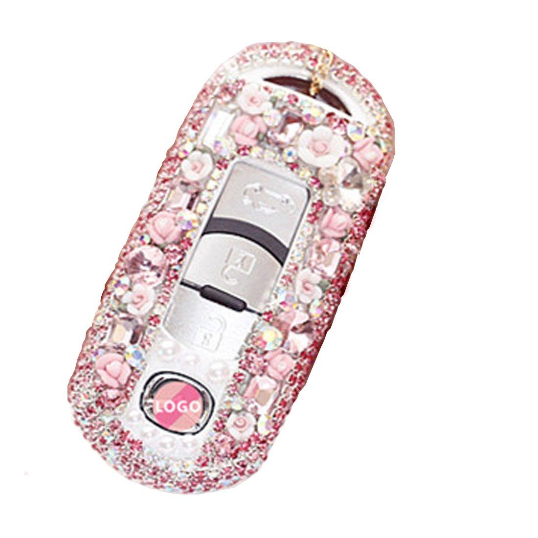 クリスタルダイヤモンド車リモートキーFobケースシェルキーレスリモートカバー用マツダ2 / 3 / 4-buttonsスマートキー KMT B075MC7MRS ピンク ピンク