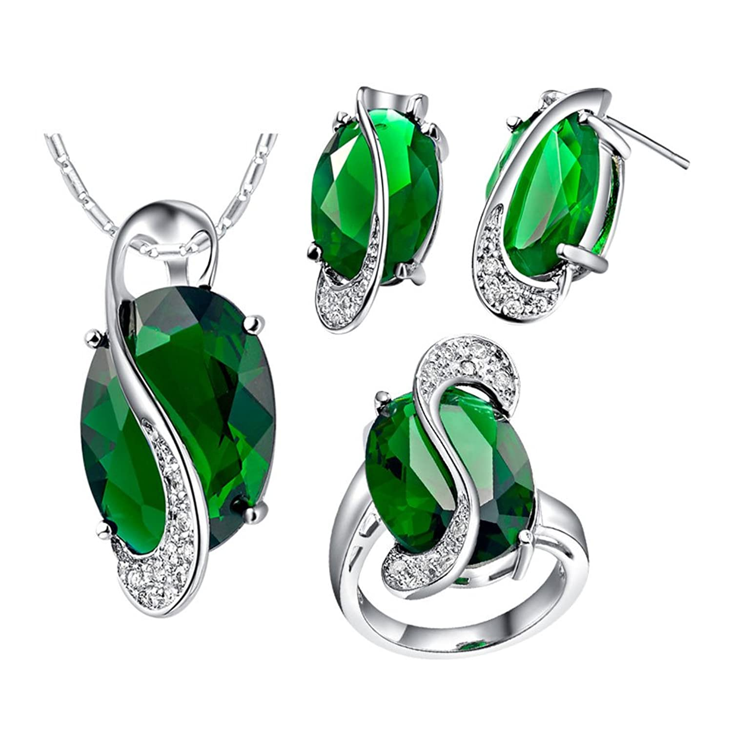 J.MOSUYA 18K White Gold Plated Crystal Emerald Earring Necklace Jewelry Sets for Women Wife Lover Valentine Day Gift