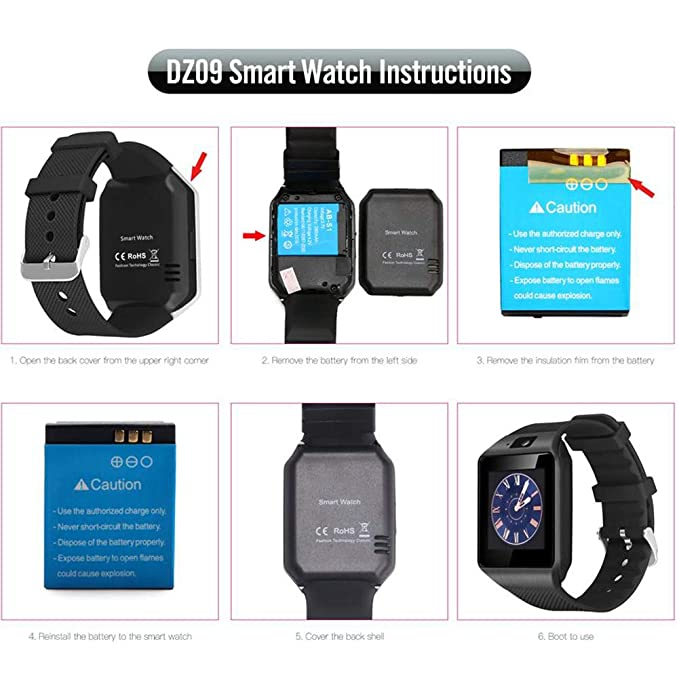 Amazon.com : ARTEMISES Bluetooth Smart Watch DZ09 Relojes Smartwatch Relogios TF SIM Camera for iOS iPhone Samsung Huawei Xiaomi Android Phone : Sports & ...