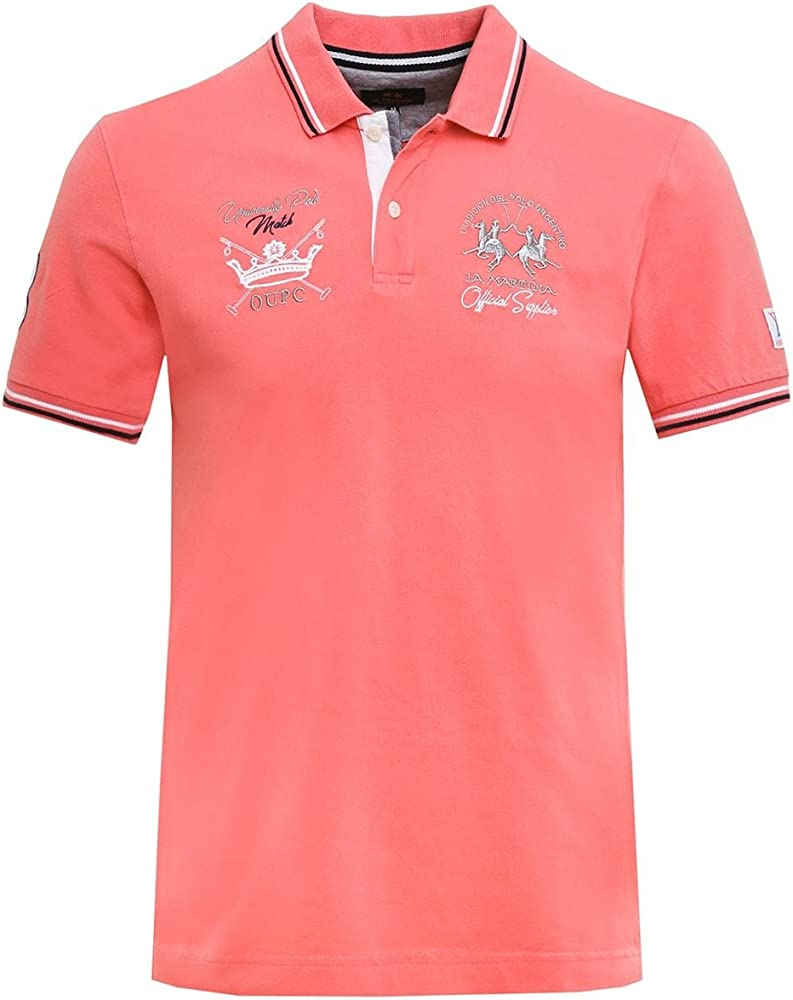 La Martina Hombres Camisa Polo de Piqué Calixto Color de Rosa ...