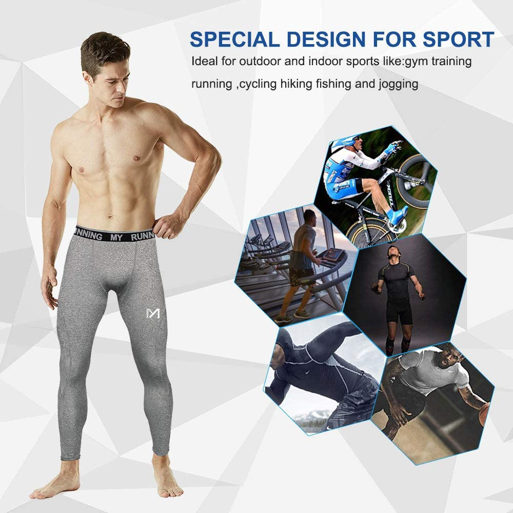 Sports Compression Tights Quick Dry Base Layer Bottom Training Pants for Running Cycling Workout Gym MEETYOO Men/'s Leggings