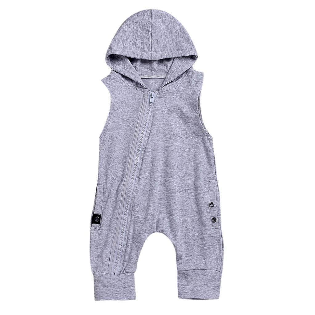 Unisex Baby Boy Girl Sleeveless Solid Color Zipper Hooded Harem Jumpsuit Casual Clothes kaiCran Baby Romper
