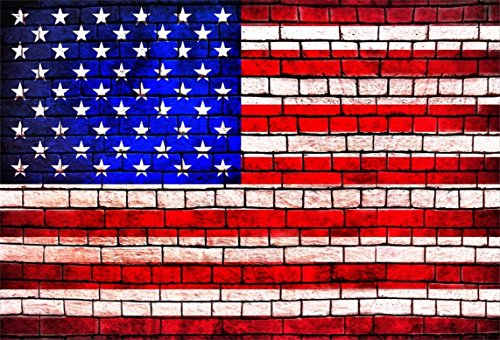 (AOFOTO 8x6ft Stars and Stripes Pattern Brick Wall Backdrop American Flag Texture Photography Background Adult Kid Boy Girl Artistic Portrait Photo Shoot Studio Props Video Drop Vinyl Wallpaper Drape )