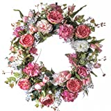 Pink Cabbage Rose Silk Wreath - Use as Spring Wreath, Summer Wreath or Everday Wreath (26 inch)