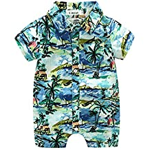 MHSH Newborn Baby Boys Short Sleeve Onesies Summer Printing Button-Down Polyester Casual Hawaiian Shirt Romper Outfits